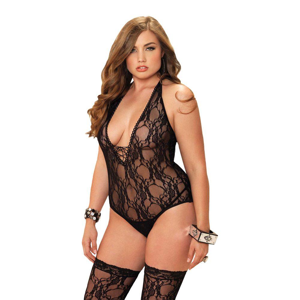 Image of   Leg Avenue - Bodystocking m. blonder & matchende strømper Plussize