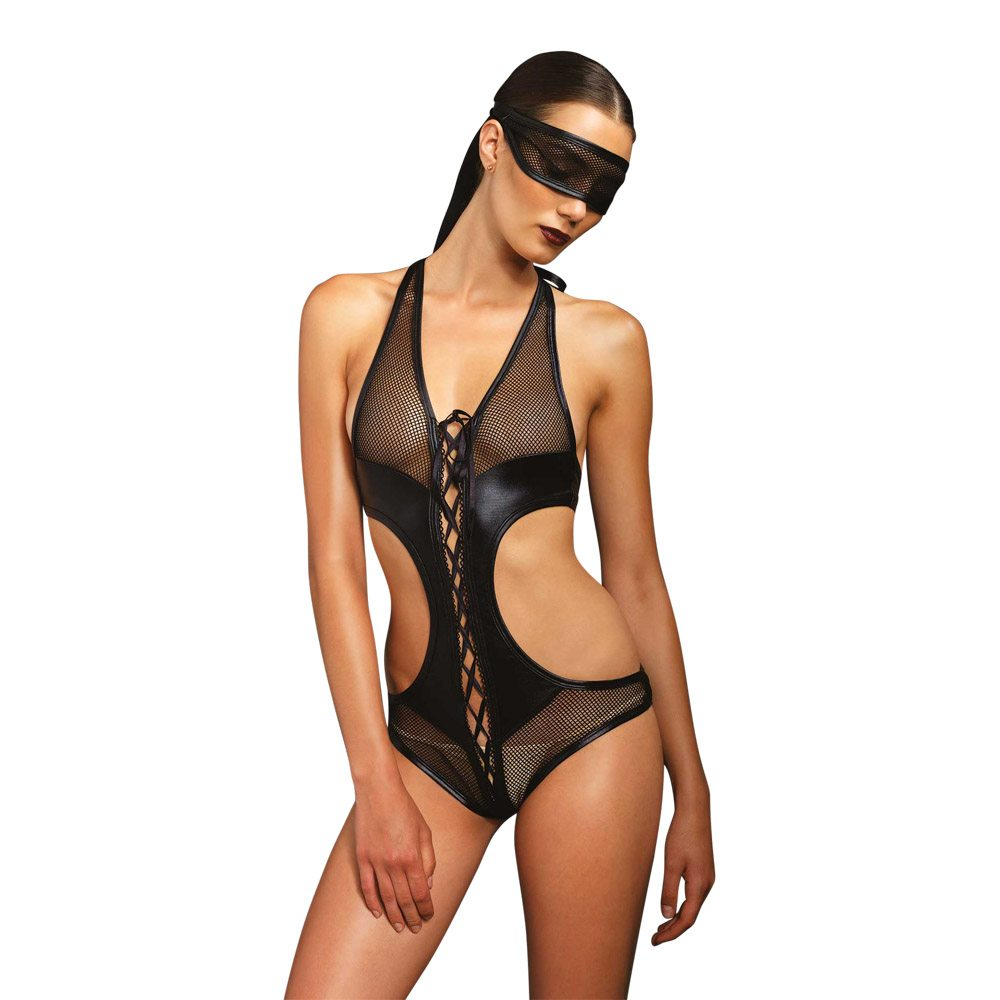 Image of   Leg Avenue - Åbent Body m. blindfold M/L